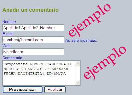 Ejemplo para relleno del formulario
